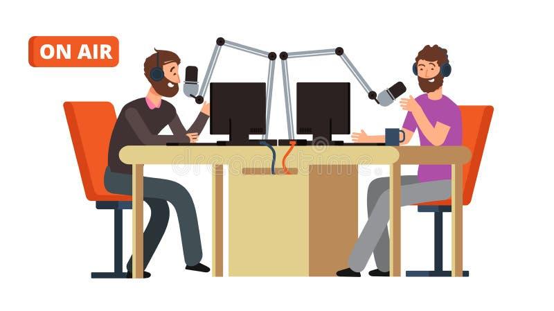 Program radiowy Nadawczy radio dj opowiada z mikrofonami na powietrzu Wektorowy pojęcie ilustracja wektor