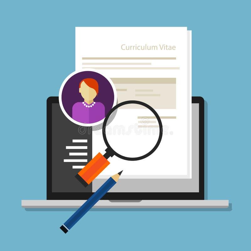 Program - skrivbordsarbete för data för rekrytering för anställd för vitaeCV-meritförteckning stock illustrationer