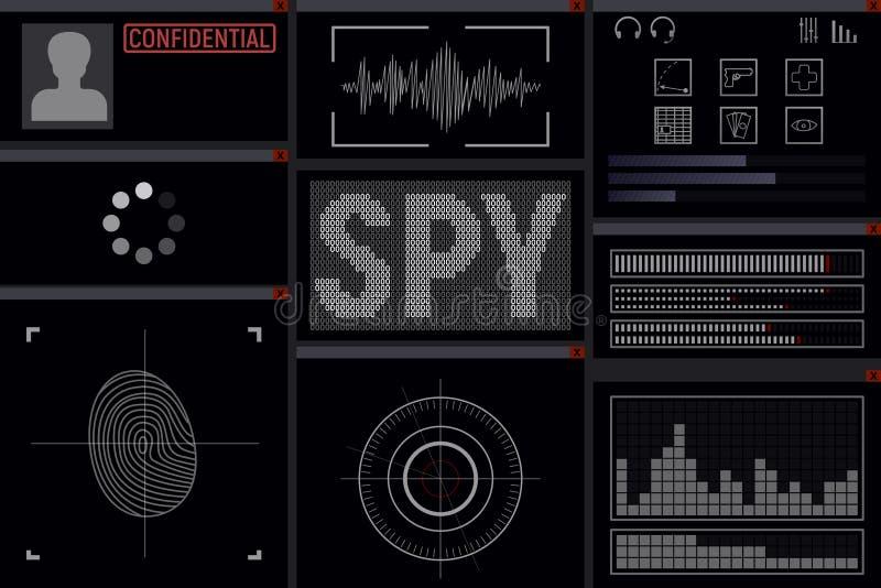 Program for the spy. Display vector illustration. hacker vector illustration