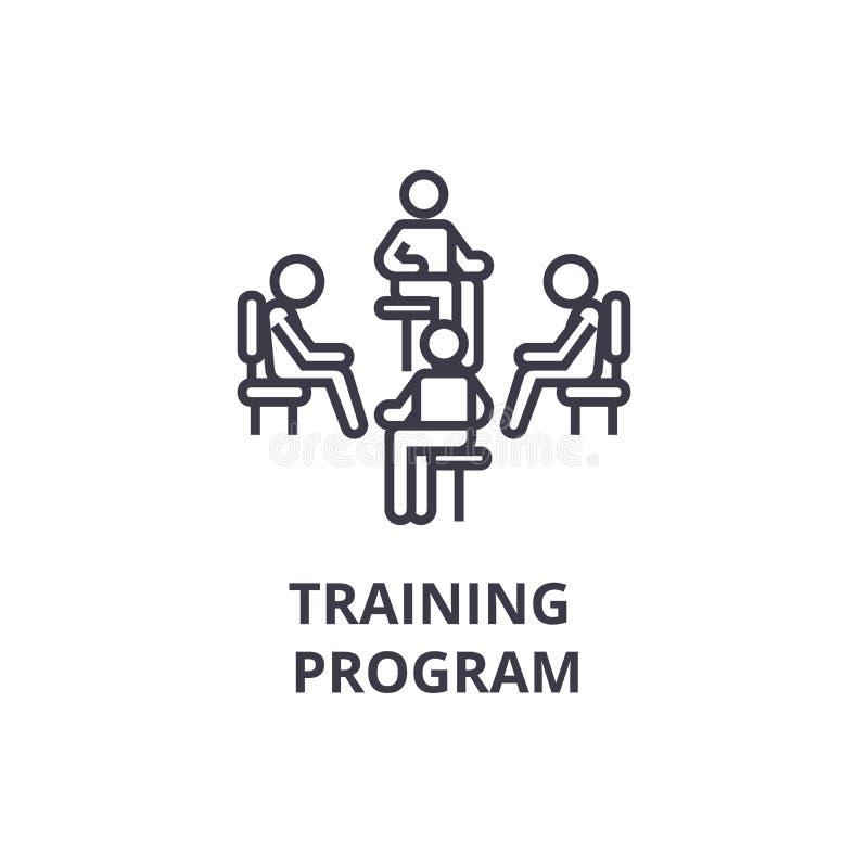 Program szkoleniowy cienka kreskowa ikona, znak, symbol, illustation, liniowy pojęcie, wektor ilustracji