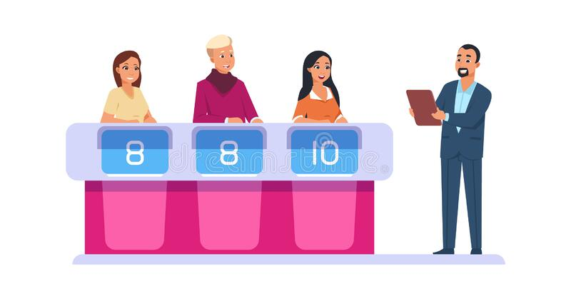 Program telewizyjny Lider zadaje pytania dotyczące uczestników Granie intelektualne w quiz dotyczący grafiki wektorowej royalty ilustracja