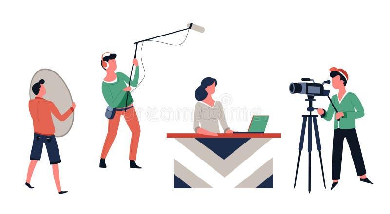program telewizyjny, wiadomości ekranizacja lub gospodarz mknąca żeńska załoga i ilustracji