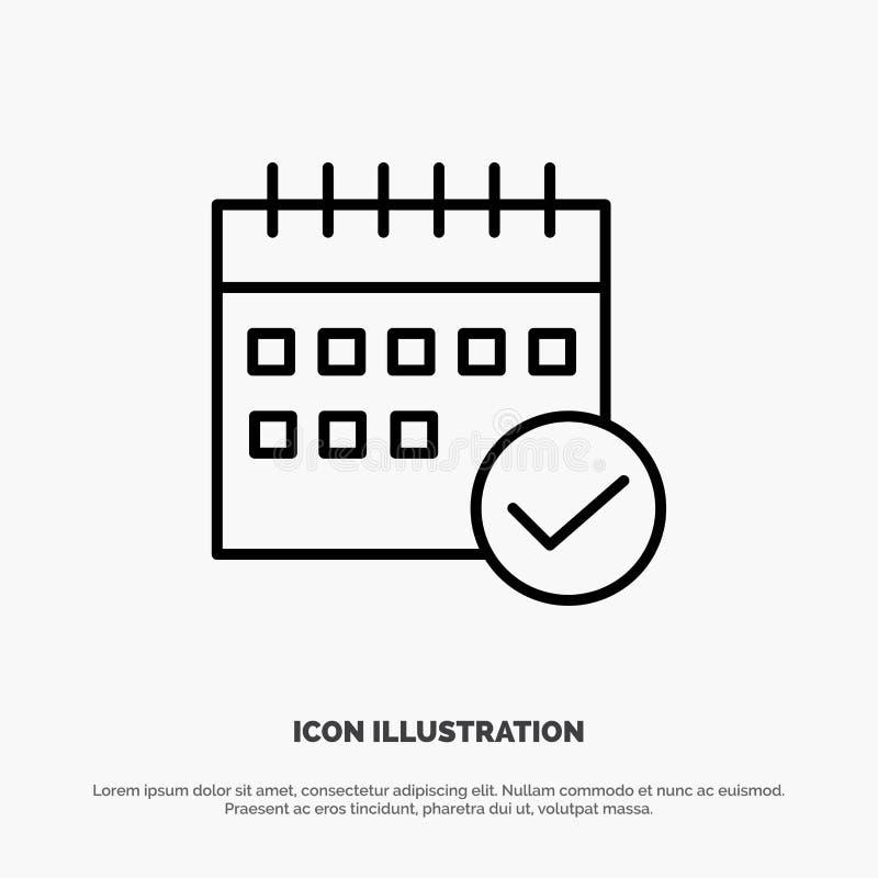 Programação, aprovada, negócio, calendário, evento, plano, linha planejando vetor do ícone ilustração do vetor