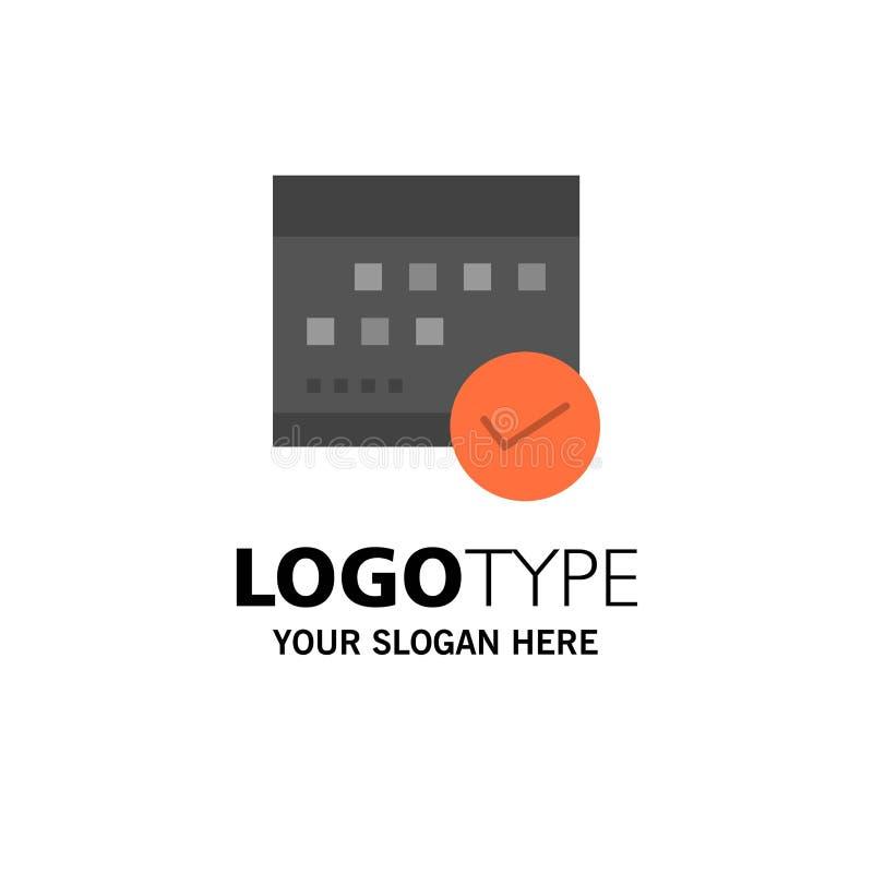 Programação, aprovada, negócio, calendário, evento, plano, negócio planejando Logo Template cor lisa ilustração royalty free