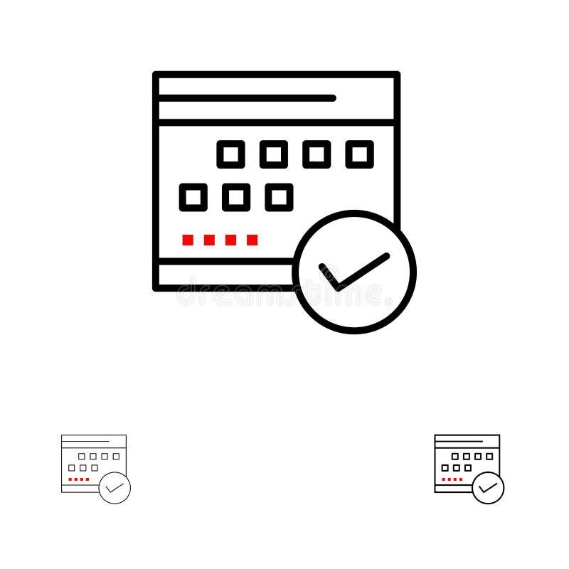 Programação, aprovado, negócio, calendário, evento, plano, planejando a linha preta corajosa e fina grupo do ícone ilustração stock