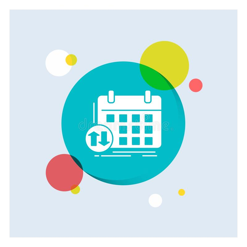programação, classes, calendário, nomeação, do ícone branco do Glyph do evento fundo colorido do círculo ilustração royalty free