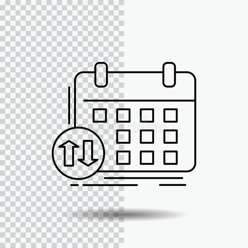 programação, classes, calendário, nomeação, linha ícone do evento no fundo transparente Ilustra??o preta do vetor do ?cone ilustração stock