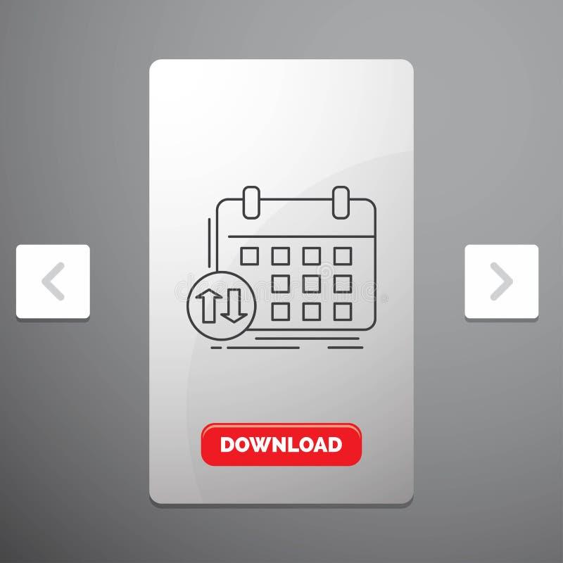 programação, classes, calendário, nomeação, linha ícone do evento no projeto do slider das paginações do Carousal & botão vermelh ilustração stock