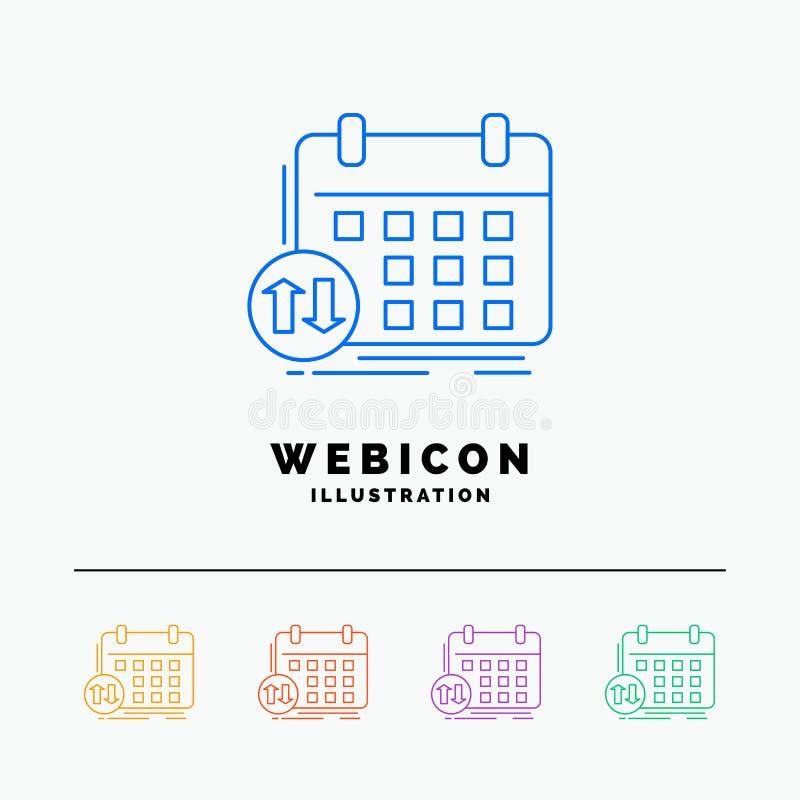 programação, classes, calendário, nomeação, linha de cor molde do evento 5 do ícone da Web isolado no branco Ilustra??o do vetor ilustração stock