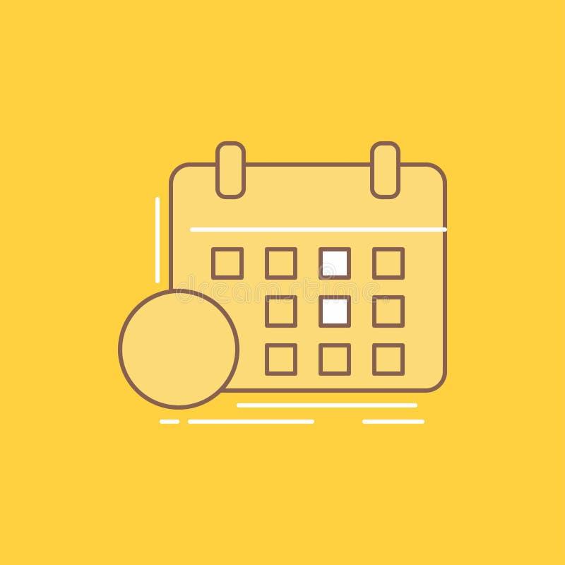 a programação, classes, calendário, nomeação, linha lisa do evento encheu o ícone Bot?o bonito do logotipo sobre o fundo amarelo  ilustração do vetor