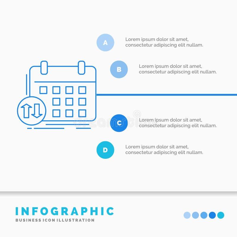 programação, classes, calendário, nomeação, molde de Infographics do evento para o Web site e apresentação Linha ?cone azul infog ilustração royalty free