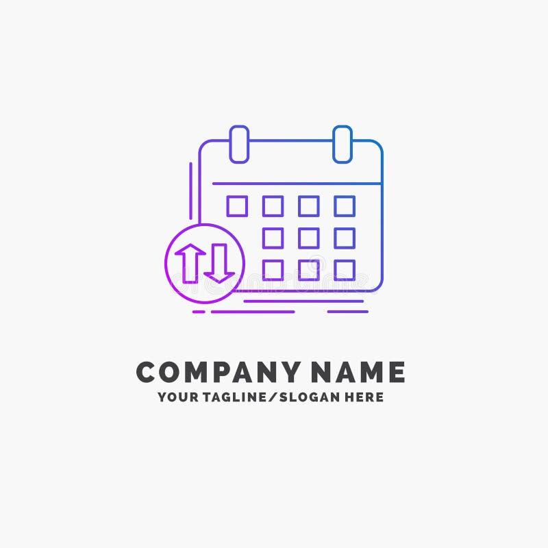 programação, classes, calendário, nomeação, negócio roxo Logo Template do evento Lugar para o Tagline ilustração stock