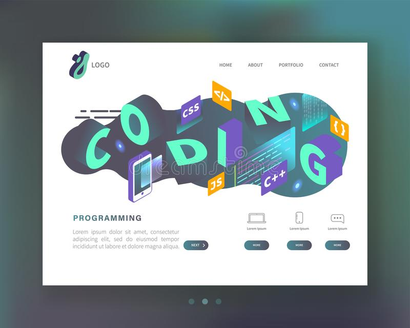 Programação, codificando o conceito Molde isométrico da página da aterrissagem do Web site Software do móbil do desenvolvimento d ilustração stock