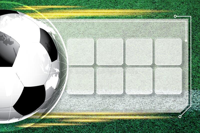 Programação da competição do futebol do futebol do fundo imagens de stock