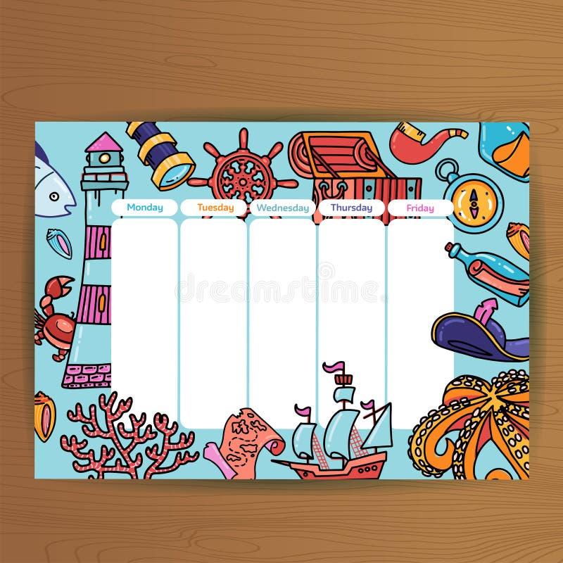 Programação da escola com os habitantes do mundo e equipamento subaquáticos do pirata da aventura planos de aula do calend?rio to ilustração stock