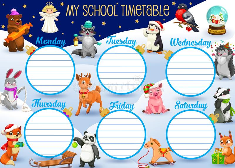 Programação da escola na semana inteira, animais dos desenhos animados ilustração do vetor
