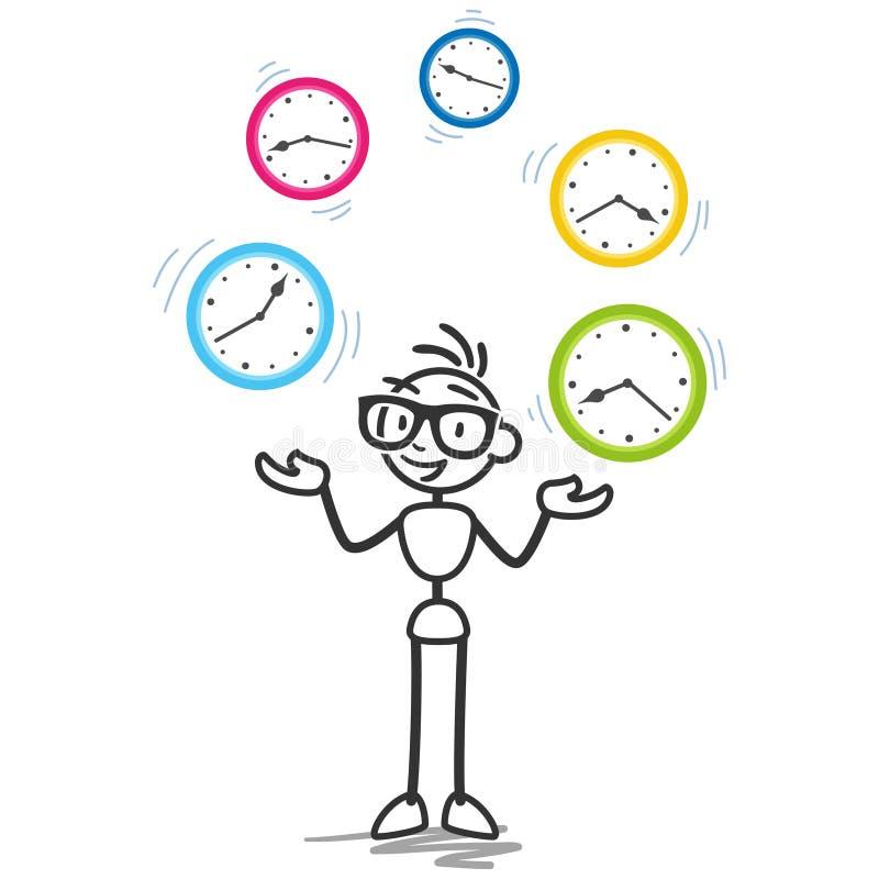 Programação da produtividade da gestão de tempo de Stickman ilustração royalty free