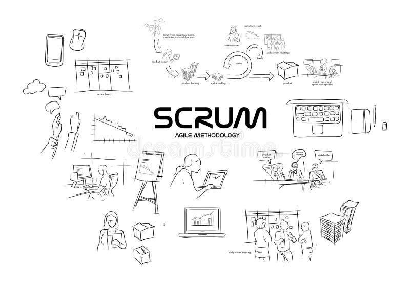 Programação de software ágil da metodologia do scrum ilustração do vetor