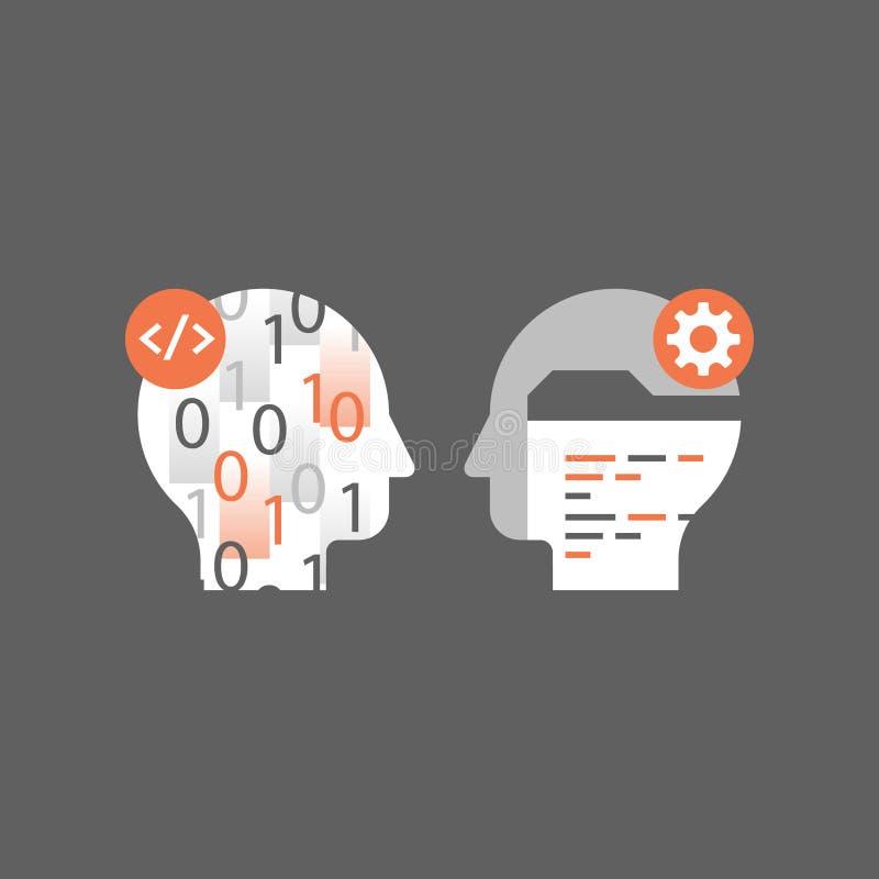 A programação de software, aprende a codificação, a linguagem de programação, a tecnologia e a inovação, números de queda ilustração do vetor
