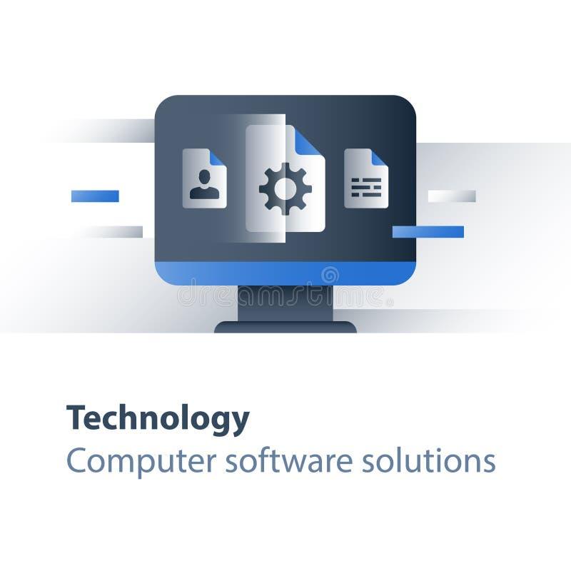 Programação de software, informática, soluções do negócio, elevação do sistema e manutenção ilustração royalty free