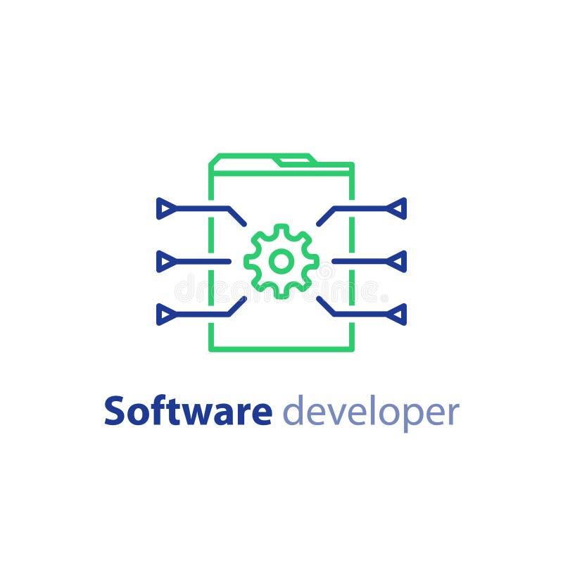 Programação de software, tecnologia do Internet, codificando serviços, conceito da inovação, projeto da site, a administração, íc ilustração do vetor