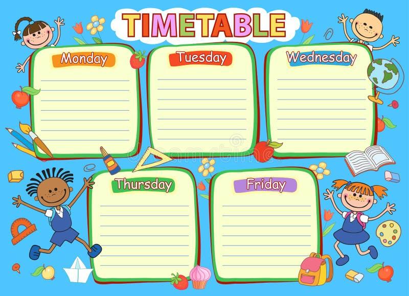 Programação do calendário da escola, ilustração colorida do vetor ilustração do vetor