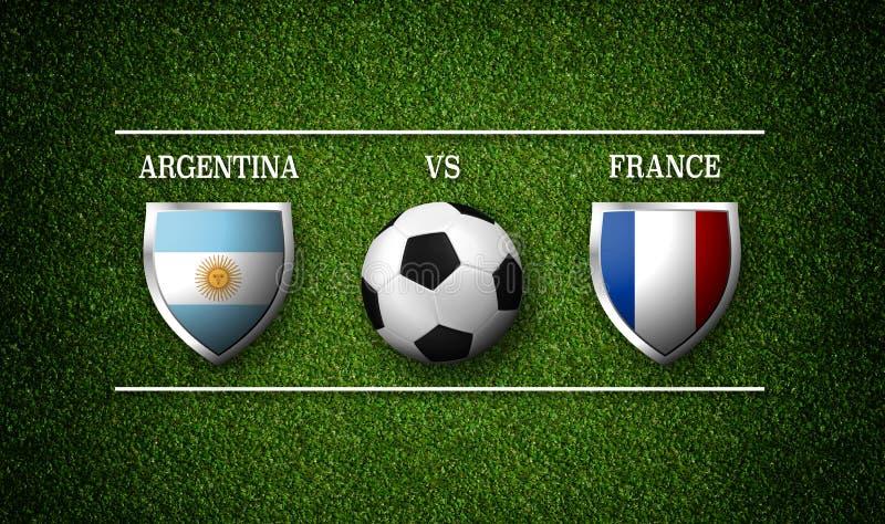 Programação do fósforo de futebol, Argentina contra França, bandeiras dos países ilustração stock