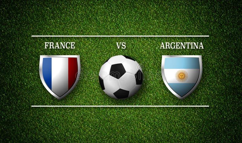 Programação do fósforo de futebol, França contra Argentina, bandeiras dos países ilustração royalty free