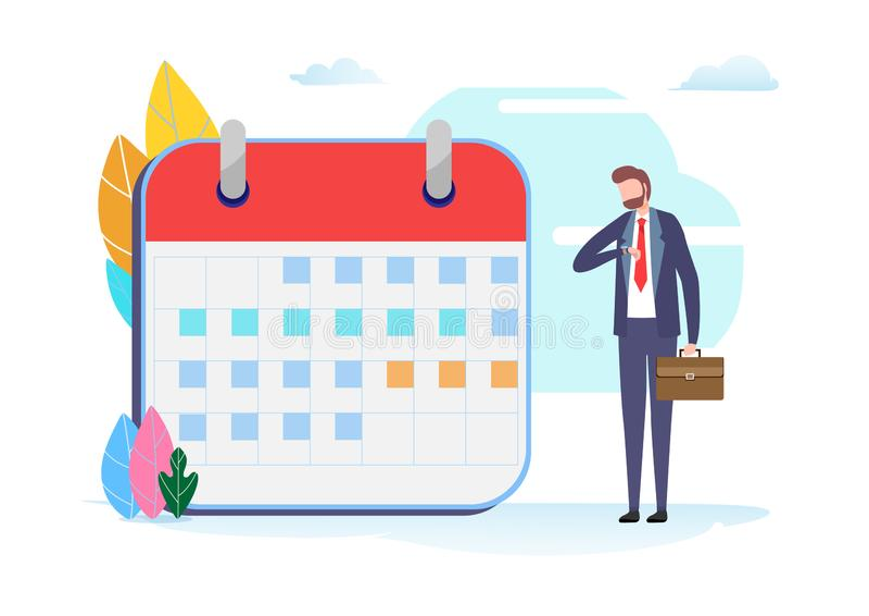 Programação do plano de negócios Gestão de tempo O espaço temporal, agenda, fim do prazo Gráfico de vetor diminuto da ilustração  ilustração royalty free