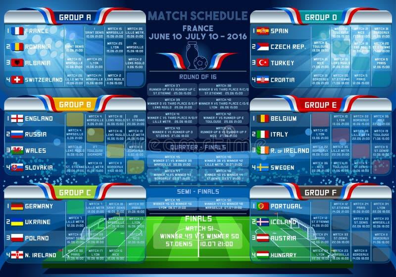 Programação dos finais do EURO 2016 do copo ilustração stock