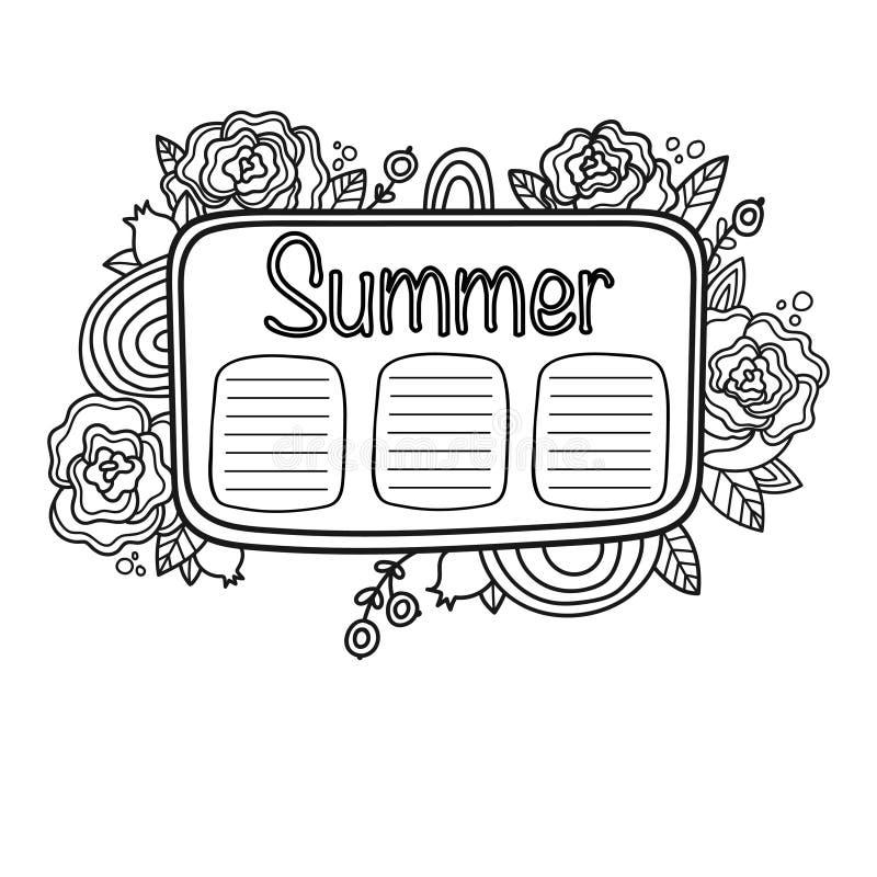 Programação imprimível do verão do álbum de recortes ilustração stock