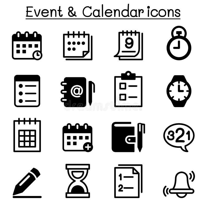 Programação, lembrete, calendário & grupo do ícone do evento ilustração do vetor