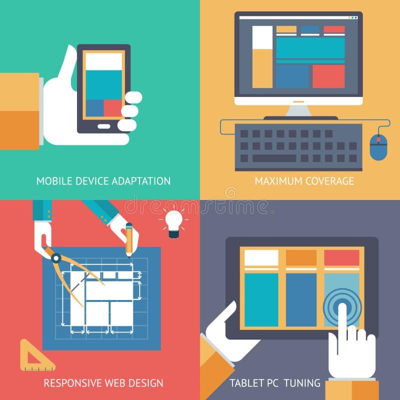 Programação responsiva do desenvolvimento da compatibilidade do navegador da cruz do design web ilustração stock