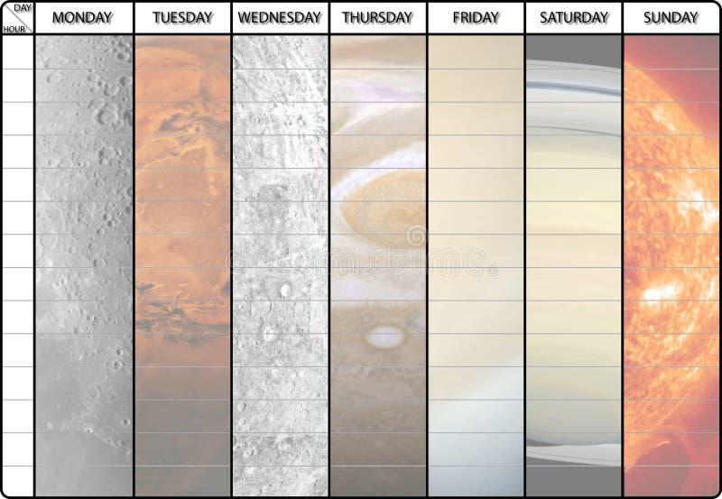 Programação semanal com fundo dos planetas ilustração do vetor