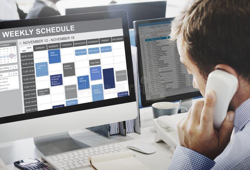 Programação semanal para fazer o conceito da nomeação da lista imagens de stock