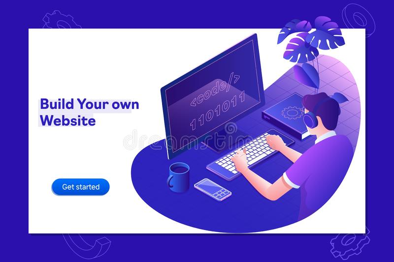 Programação tornando-se e codificação de tecnologias Design do site O programador que trabalha em um software desenvolve o escrit ilustração royalty free