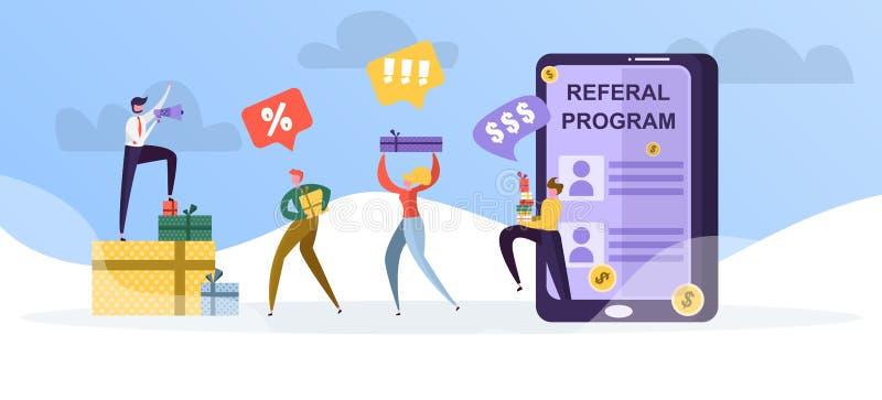 Programa da referência para usuários, presentes, dinheiro e descontos para amigos ilustração royalty free