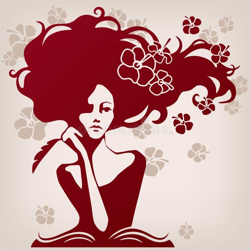 Programa de escritura de la mujer ilustración del vector