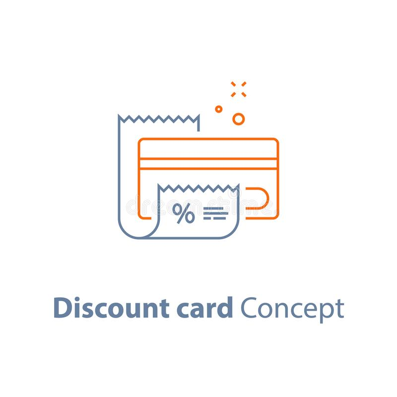 Programa de la lealtad, tarjeta del descuento, hasta resbalón, pago con tarjeta de crédito, icono del esquema del vector libre illustration