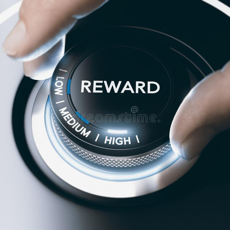Programa de la recompensa del concepto de la motivación con alto retorno imagen de archivo