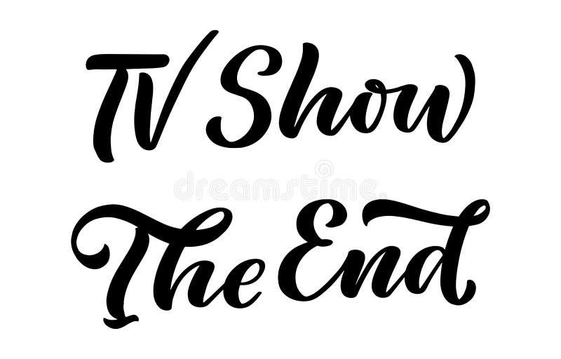 Programa de televisión, las letras del extremo en estilo de la caligrafía en el fondo blanco Ejemplo del dise?o gr?fico Lema del  libre illustration