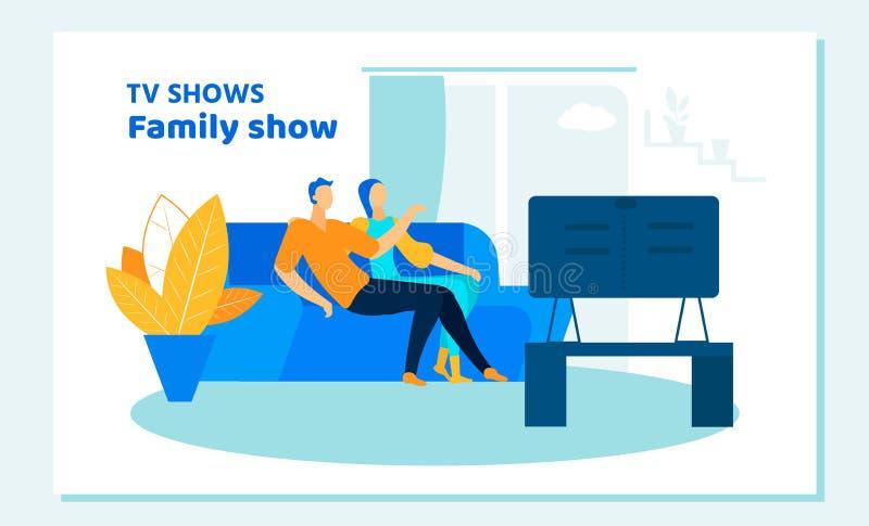 Programa de televisión de observación de los pares en casa El tiempo disponible se relaja ilustración del vector
