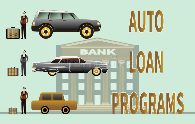 Programa del préstamo de coche y coche de compra en fondo del banco stock de ilustración