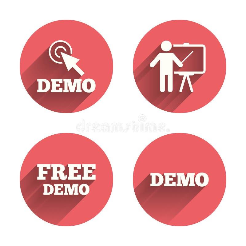 Programa demonstrativo com ícone do cursor Quadro de avisos da apresentação ilustração royalty free