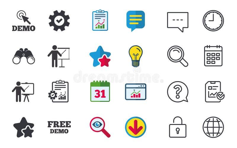 Programa demonstrativo com ícone do cursor Quadro de avisos da apresentação ilustração stock