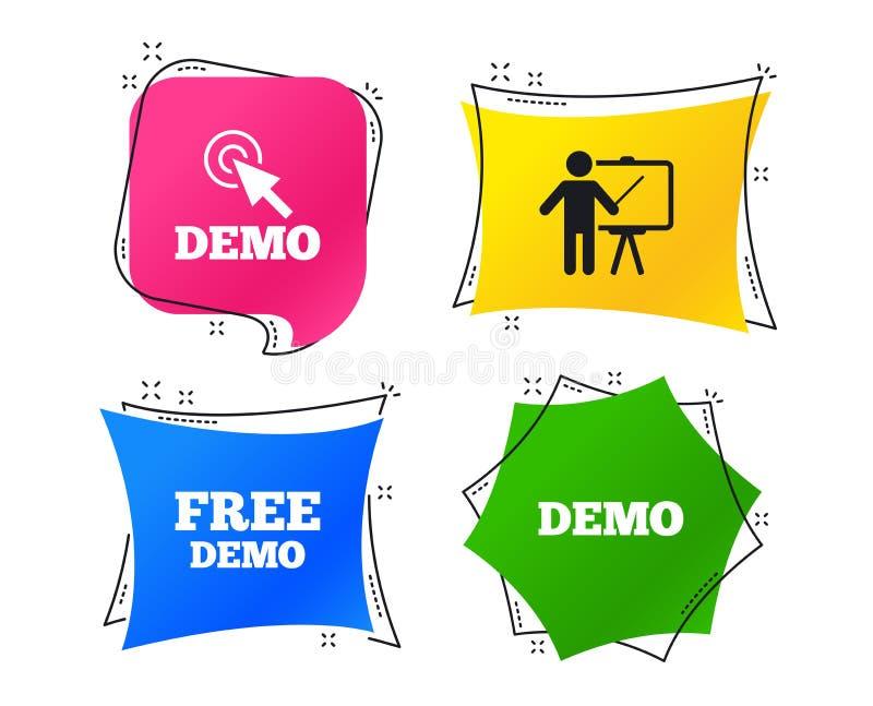 Programa demonstrativo com ícone do cursor Quadro de avisos da apresentação Vetor ilustração royalty free