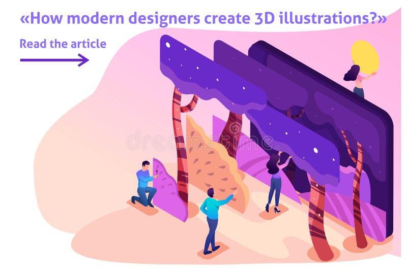 Programa isométrico para criar as ilustrações 3D ilustração royalty free