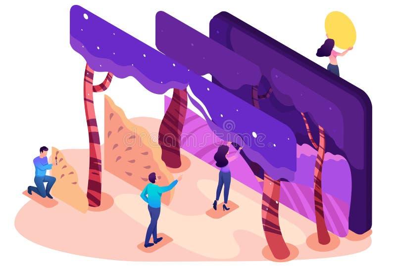Programa isométrico para criar 3D Illustrationsn ilustração do vetor