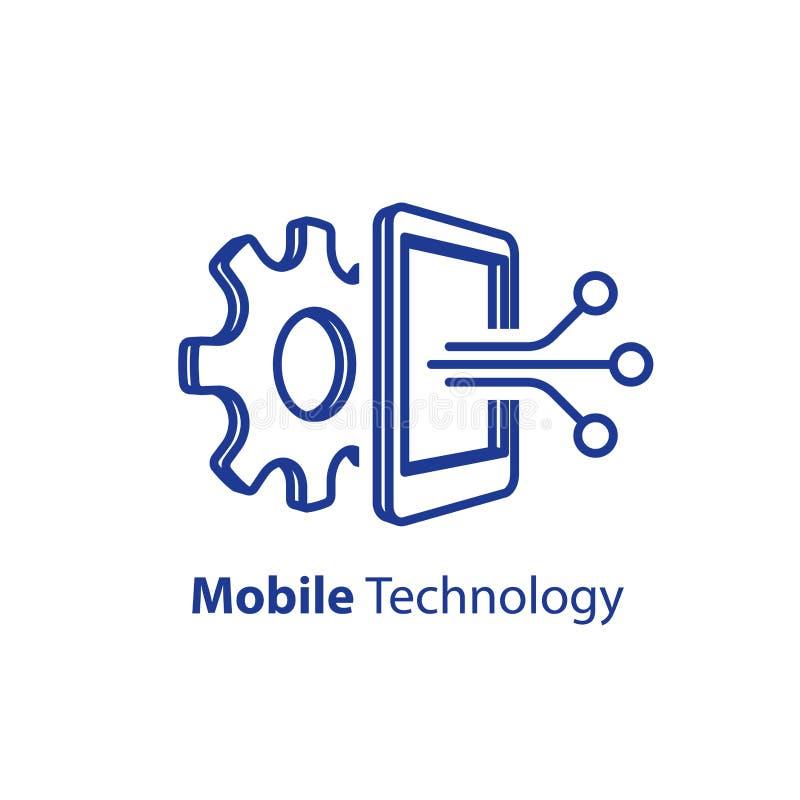Programa??o de software, conceito m?vel da tecnologia, inova??o do smartphone ilustração royalty free