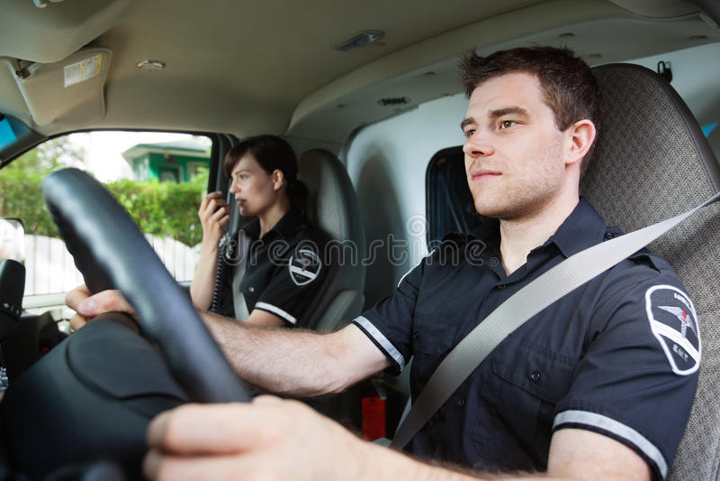 Programa piloto de la ambulancia del paramédico imagen de archivo libre de regalías